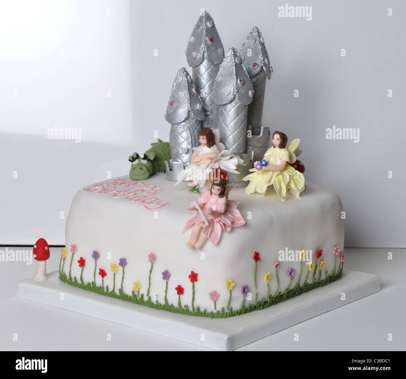 Super Girls Fairy Castle Birthday Cake Stock Photo 36516705 Alamy Personalised Birthday Cards Cominlily Jamesorg