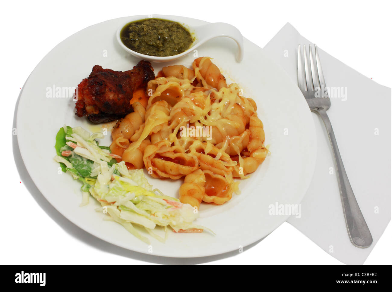 pasta with souse and cheese and fried chicken - Stock Image