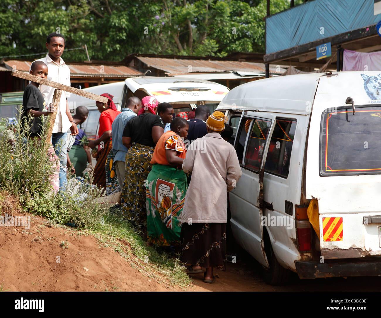 Minibus service in Marangu village, Kilimanjaro National Park, Tanzania, East Africa, Africa - Stock Image