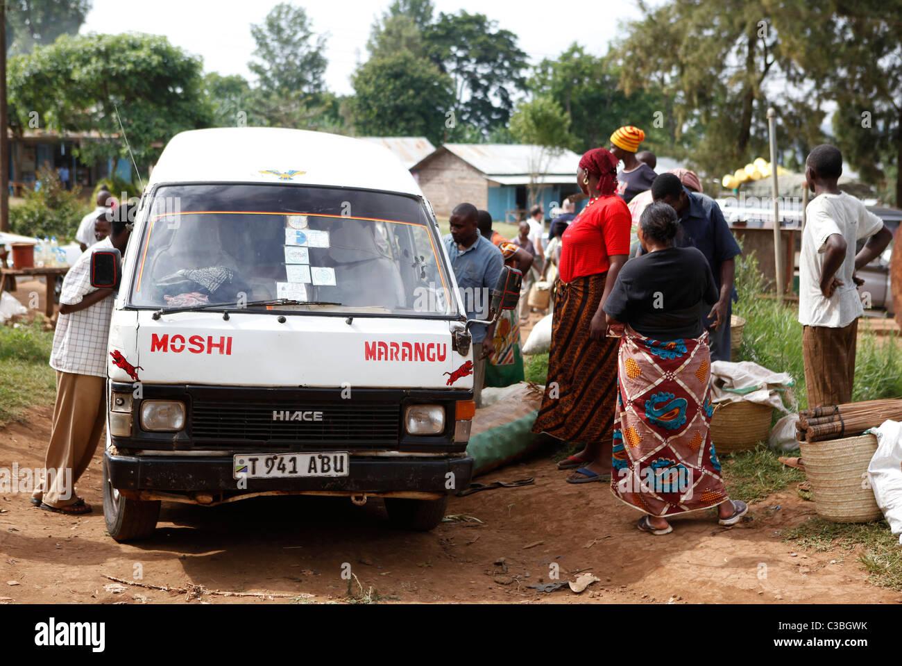 Minibus service to Moshi, Marangu village, Kilimanjaro National Park, Tanzania, East Africa, Africa - Stock Image