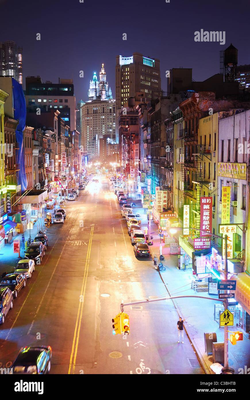 Manhattan Chinatown At Night In New York City Stock Photo Alamy