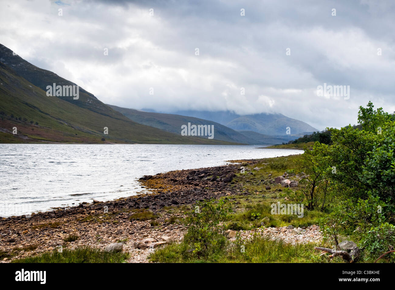 Loch Etive at Glen Etive, Glencoe region, Scotland with cloudy sky taken early autumn - Stock Image