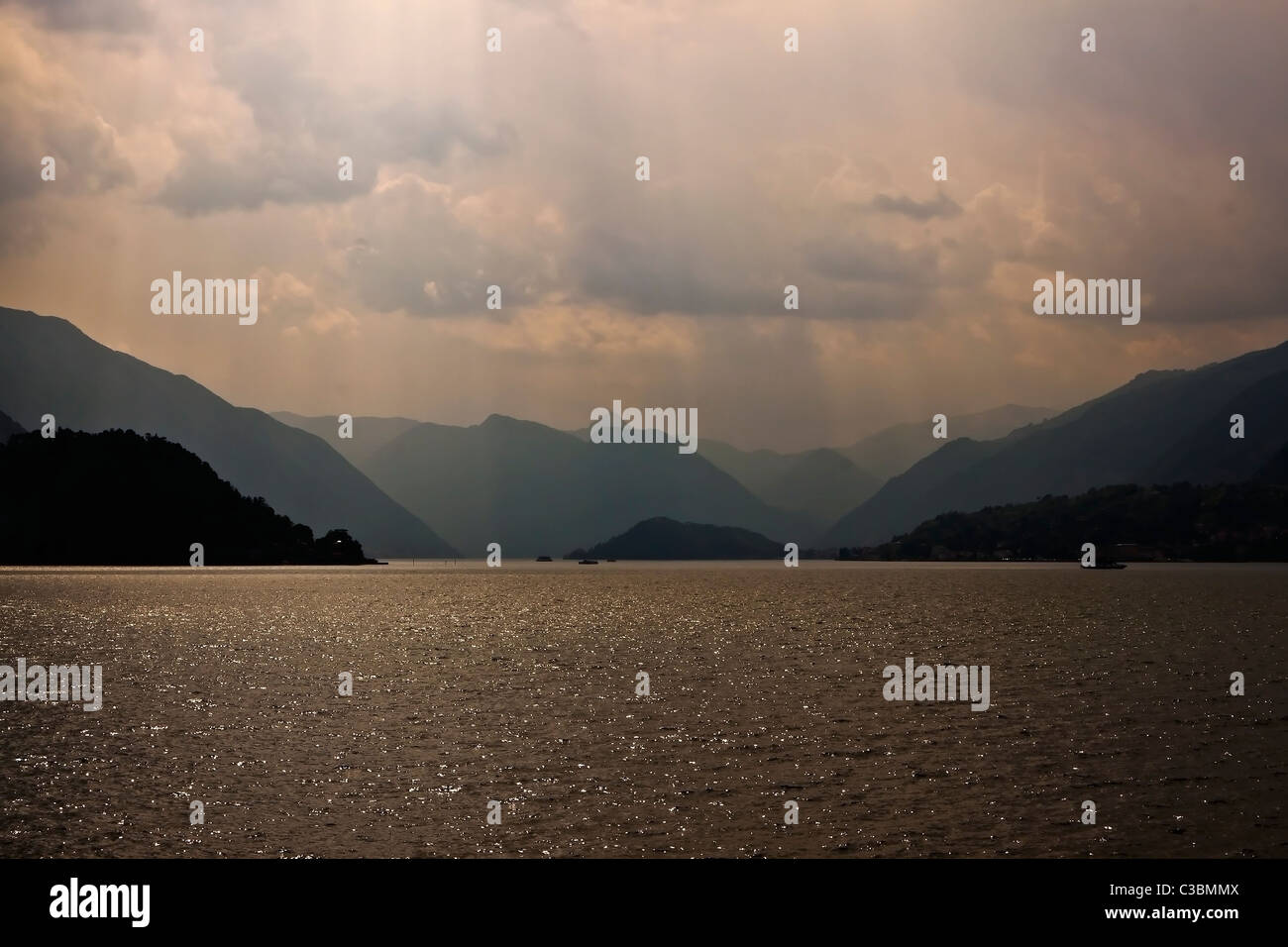 foggy day at lake como - Stock Image