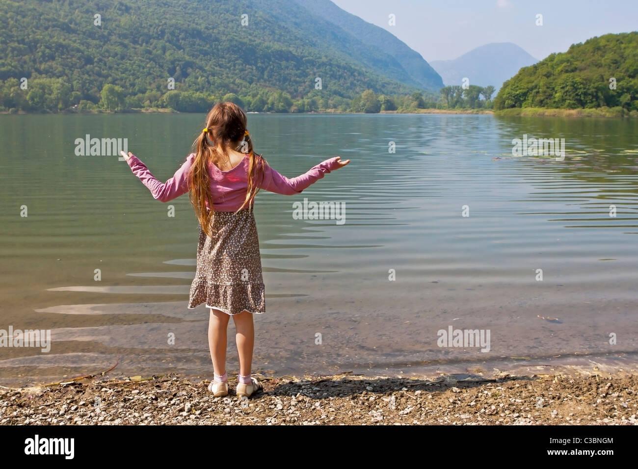 girl at tarn - Stock Image