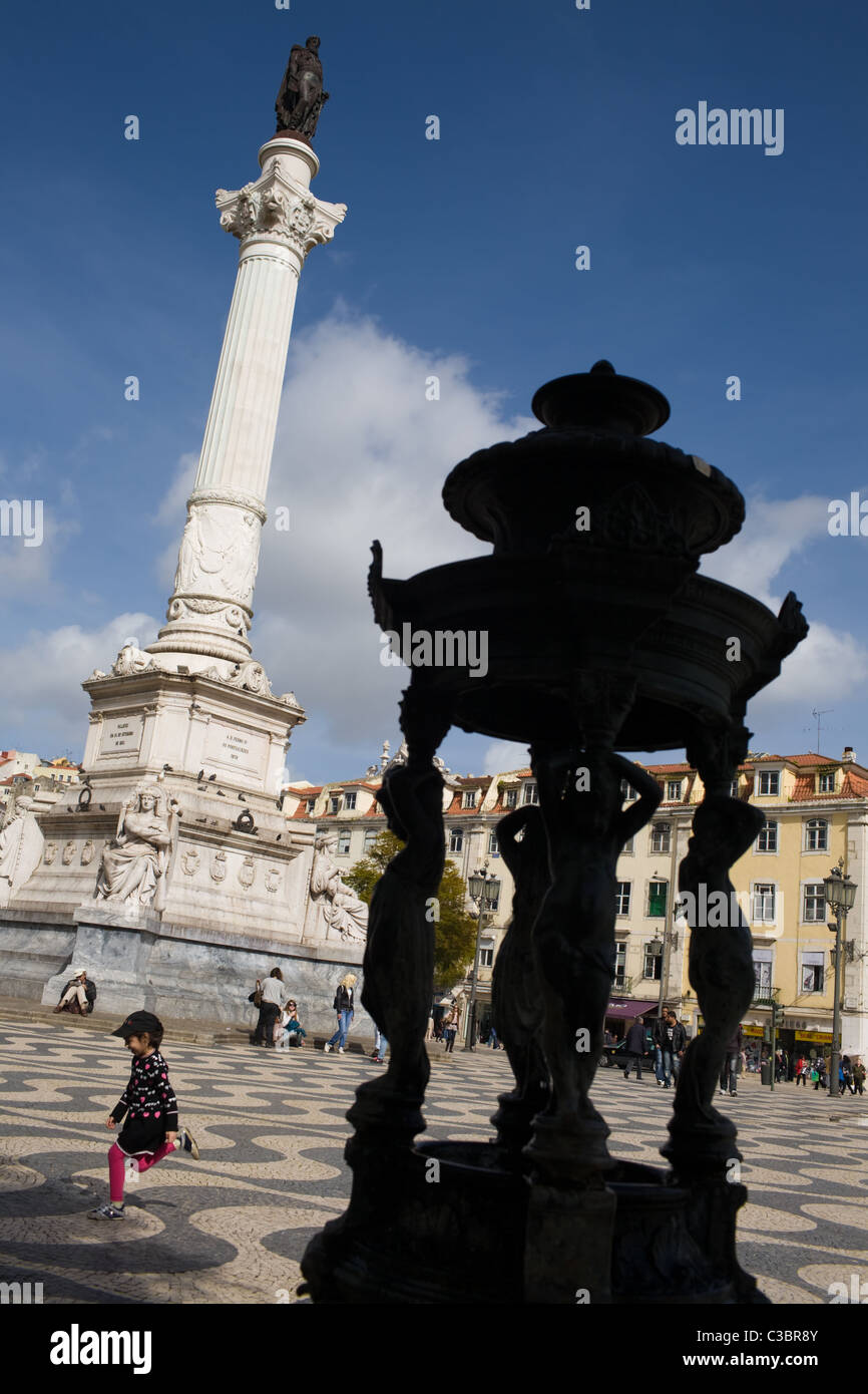 Rossio Square, Praça Dom Pedro IV, Baixa, Lisbon, Portugal - Stock Image