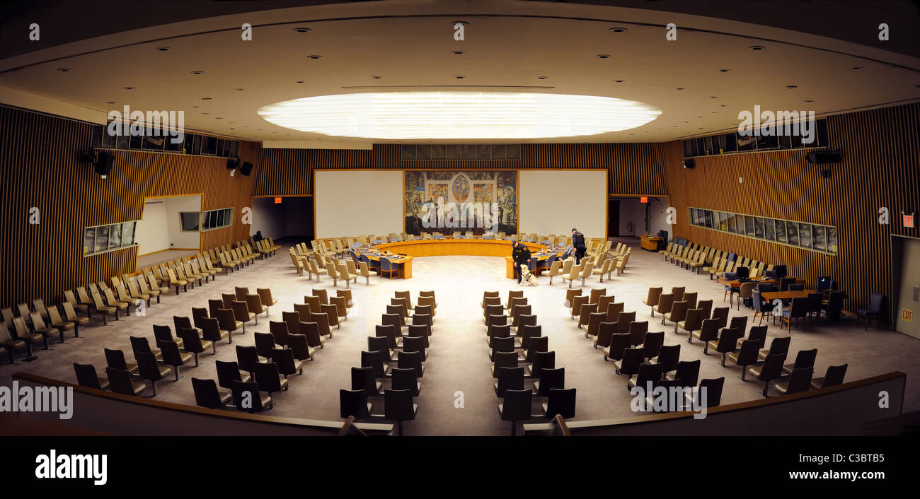 The Security Council Chamber  in the United Nations Conference Building in Manhattan, New York City. - Stock Image