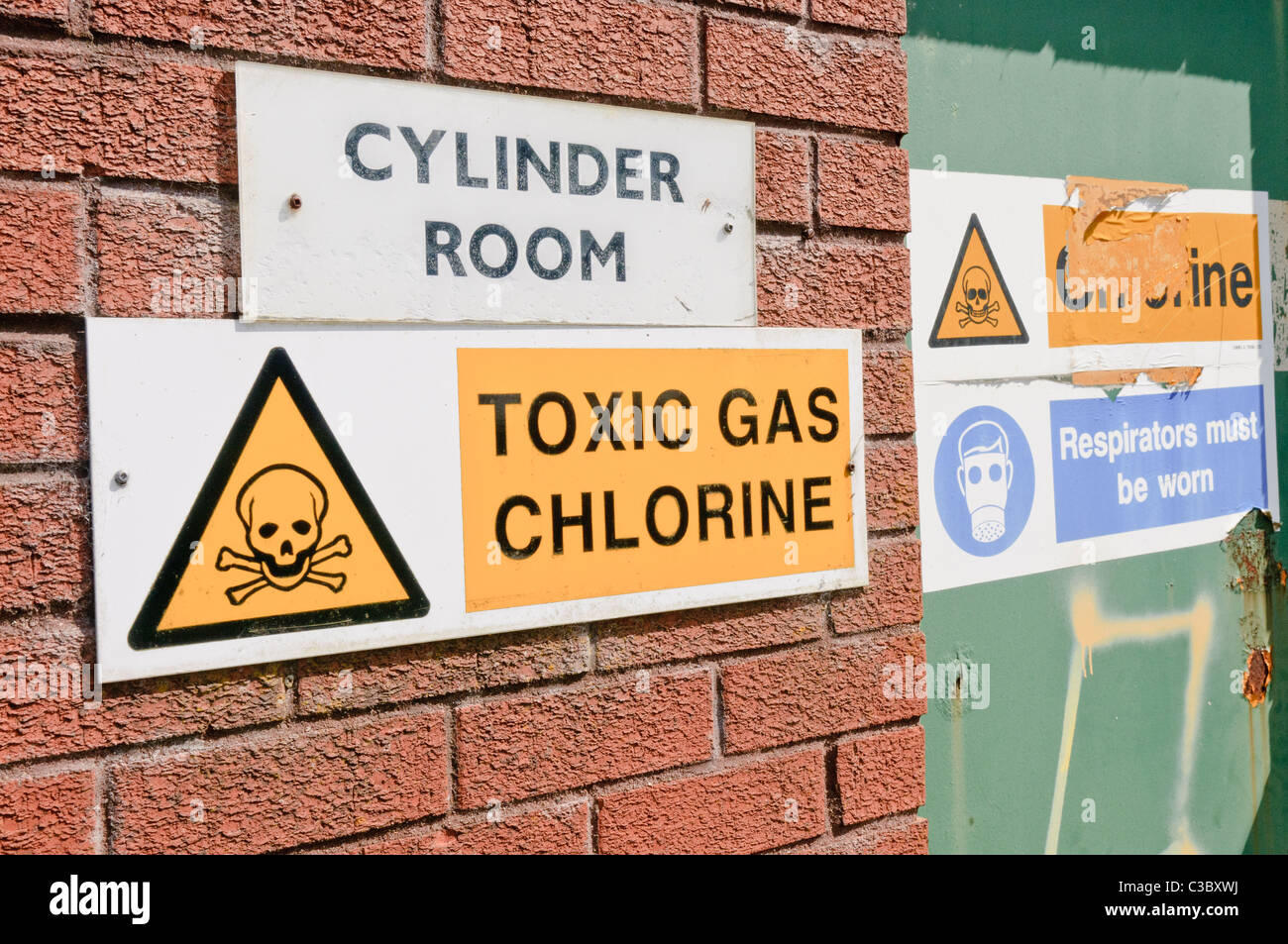 Signs warning of the presence of Chlorine gas at a water treatment plant - Stock Image