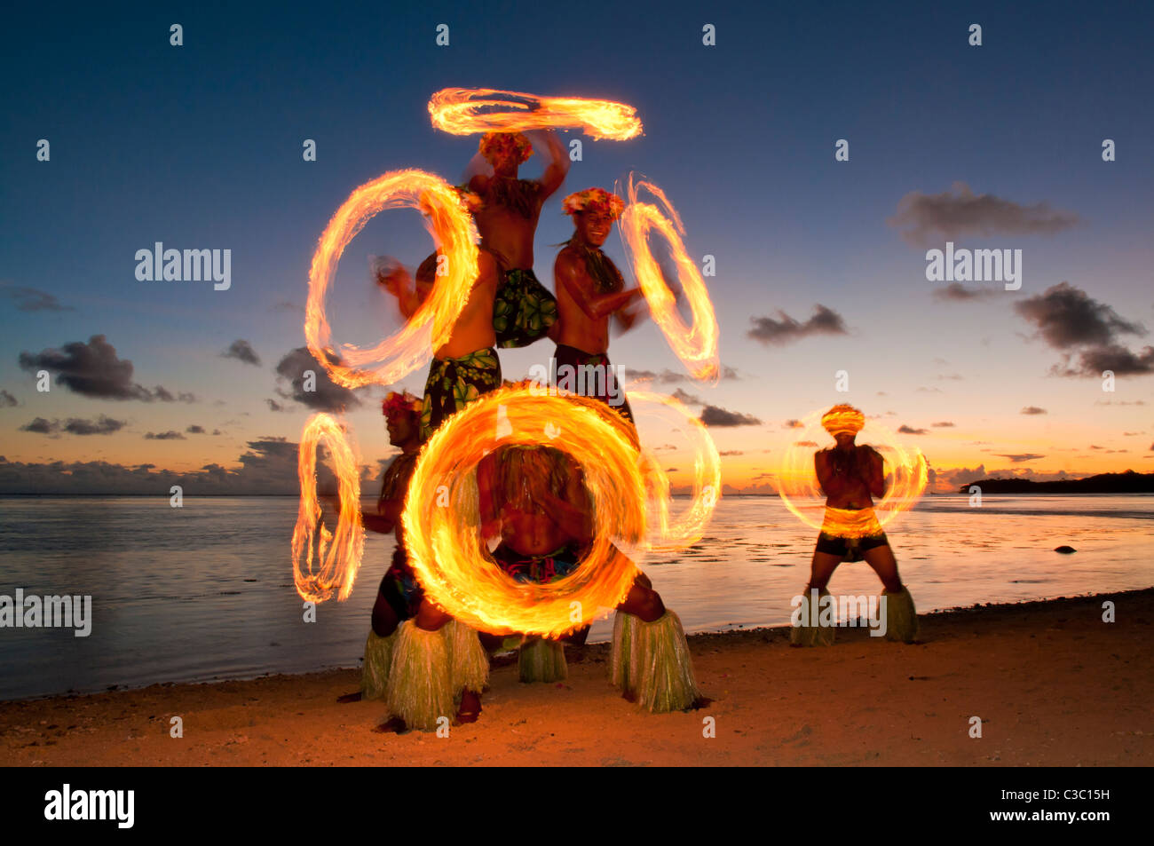 Fire Dance performance at Shangri-La Resort, Coral Coast, Viti Levu Island, Fiji. - Stock Image