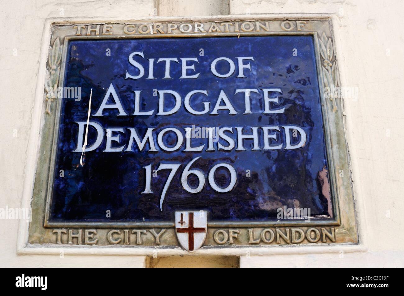 Site of Aldgate Demolished 1760 Plaque, Aldgate, London, England, UK - Stock Image