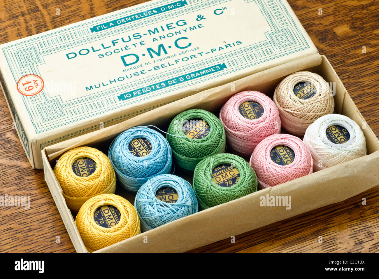 Box Of Vinatge Lace Makingcrochet Threads Manufactured By Dmc Stock