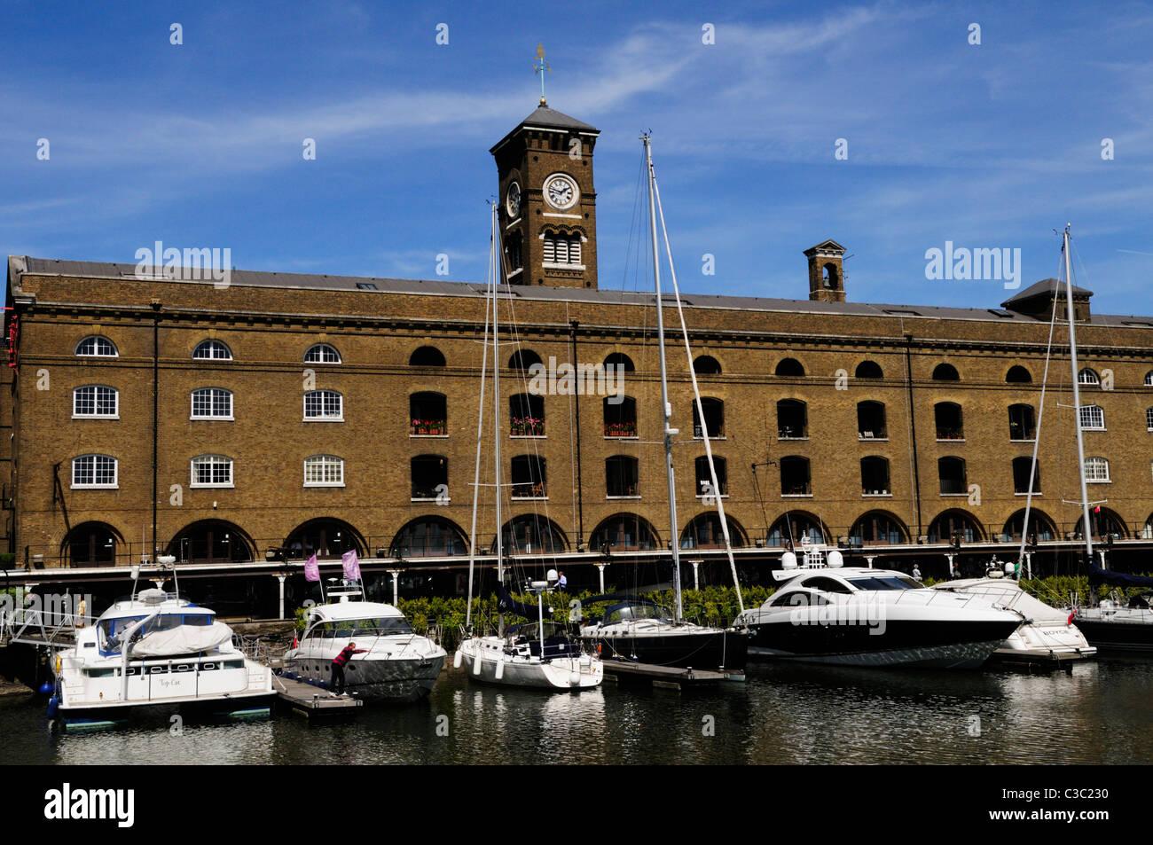 St Katharine's Dock  Marina and Apartments, London, England, UK - Stock Image