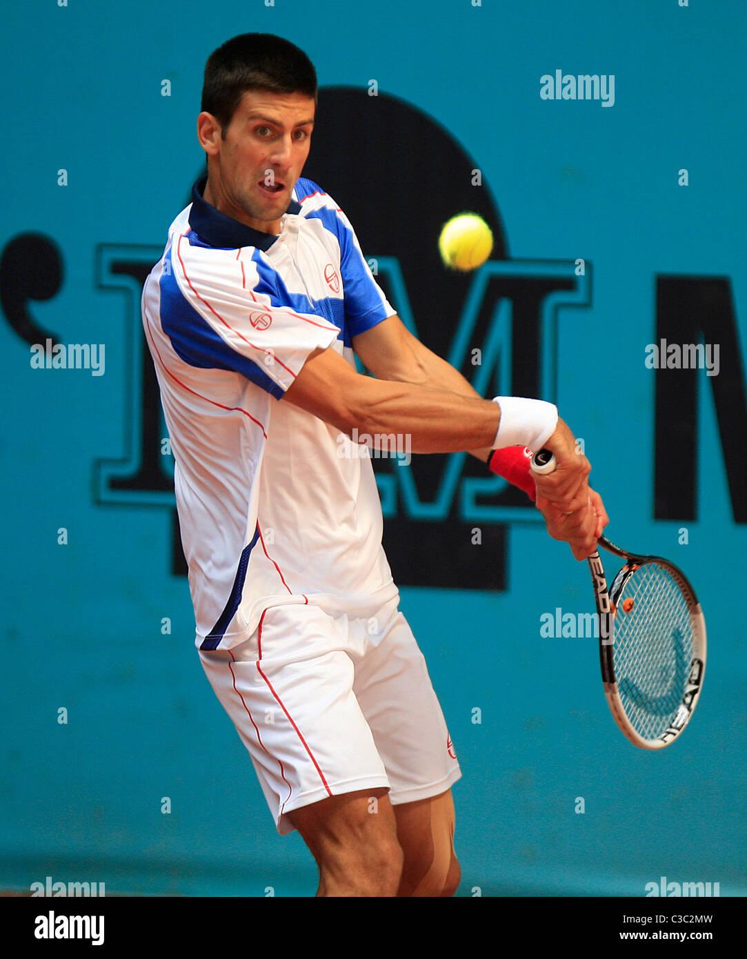 05.05.2011 - Novak Djokovic (SRB) in action against Guillermo García-López (ESP), 3rd Round of the Mutua - Stock Image