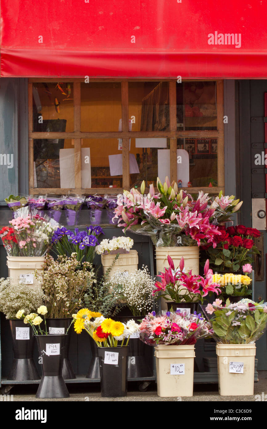 Flower bouquets for sale outside of small general store-Victoria ...