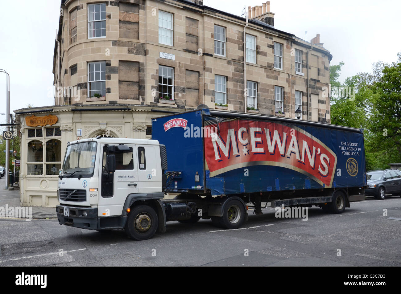 A truck from Scottish & Newcastle Breweries (now owned by Heineken) delivering beer in Edinburgh. The McEwans - Stock Image