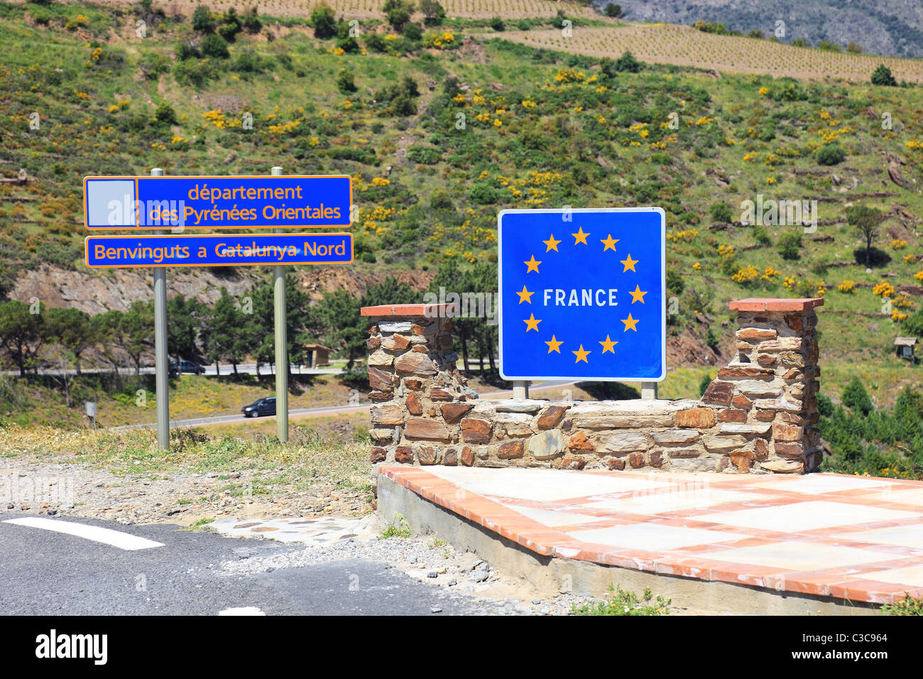 Border sign between France and Spain. Stock Photo