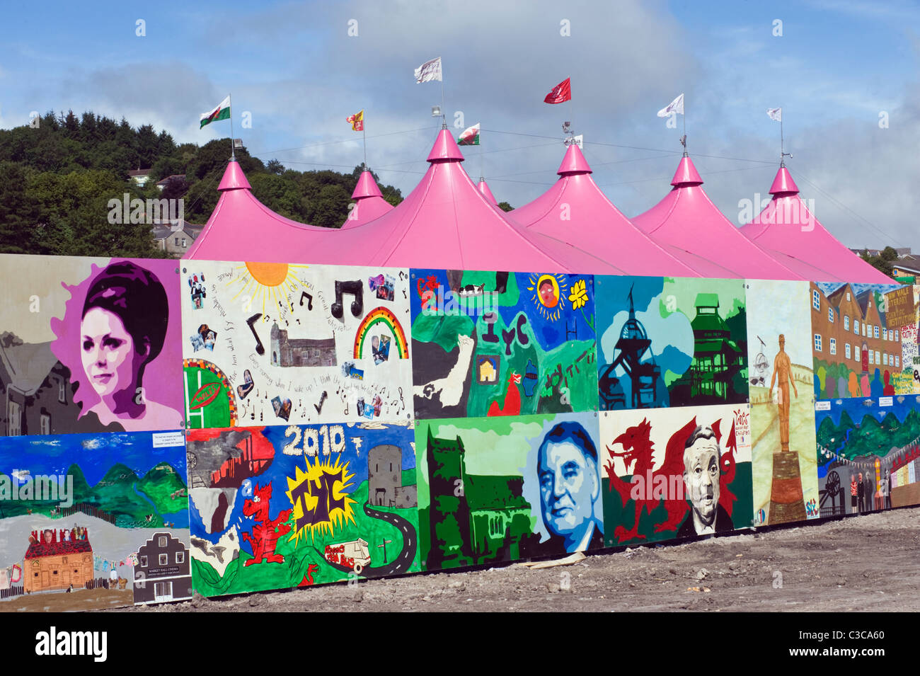 View over local mural and the pink pavilion on the site of the National Eisteddfod 2010 Ebbw Vale Blaenau Gwent - Stock Image