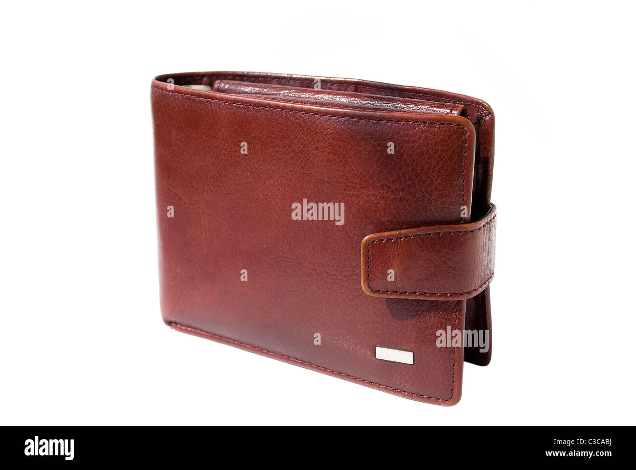 brown leather purse wallet isolated on white background - Stock Image
