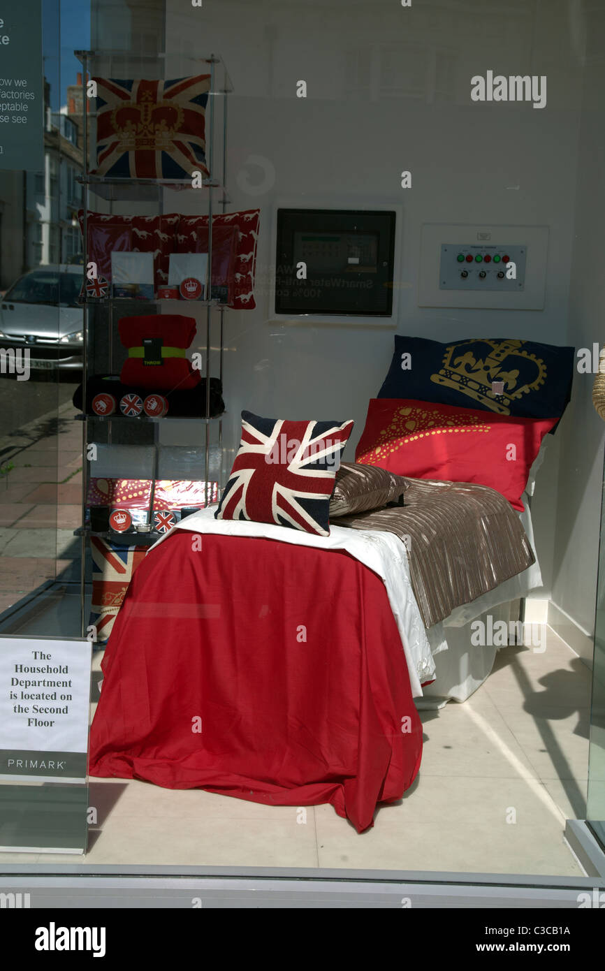 royal wedding bedroom goods available in a primark store in brighton england - Stock Image