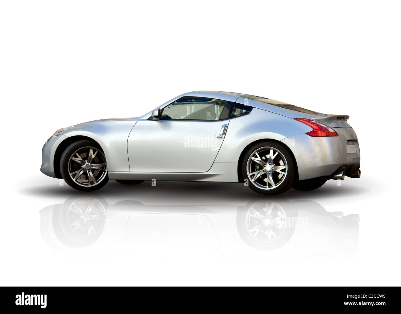 Modern Sports Car - Isolated over White Background - Stock Image