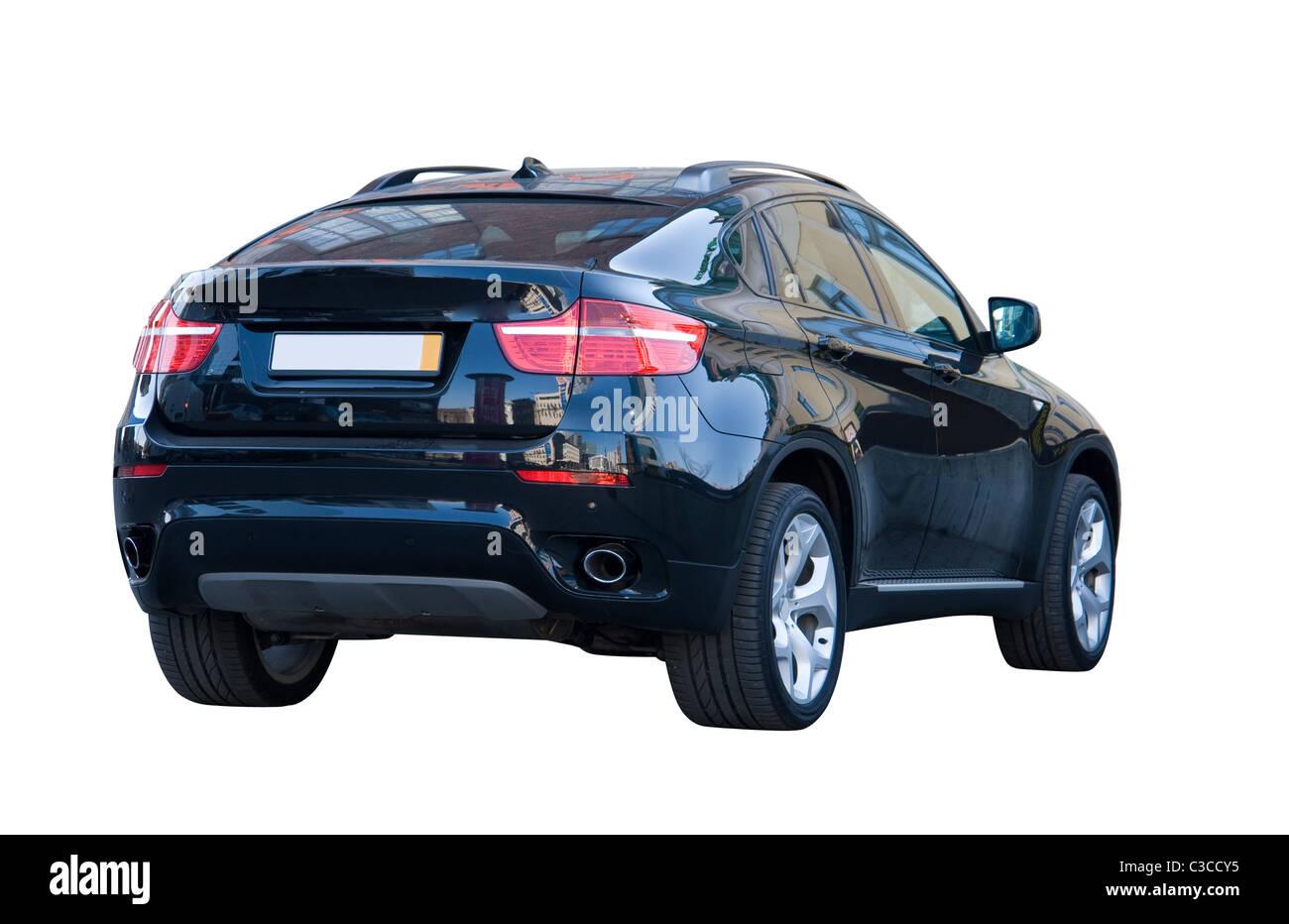 Modern Black Off Road Car - over White - Stock Image