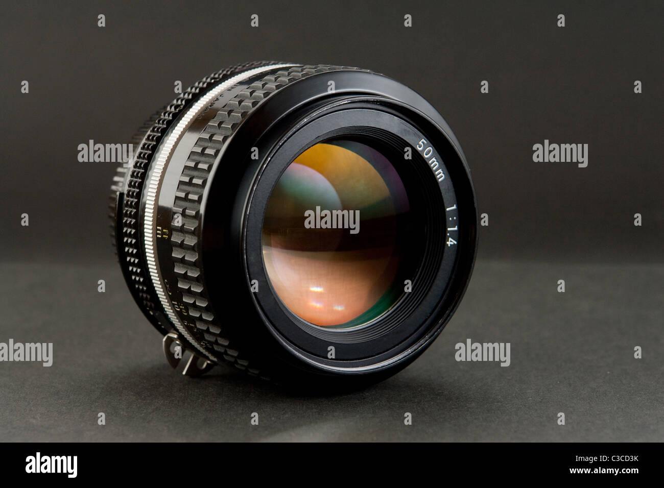 50mm Professional Grade High Quality Standard Prime Lens - Stock Image