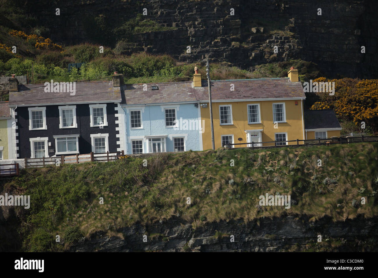 Row of terraced houses, New Quay, Ceredigion, Wales - Stock Image