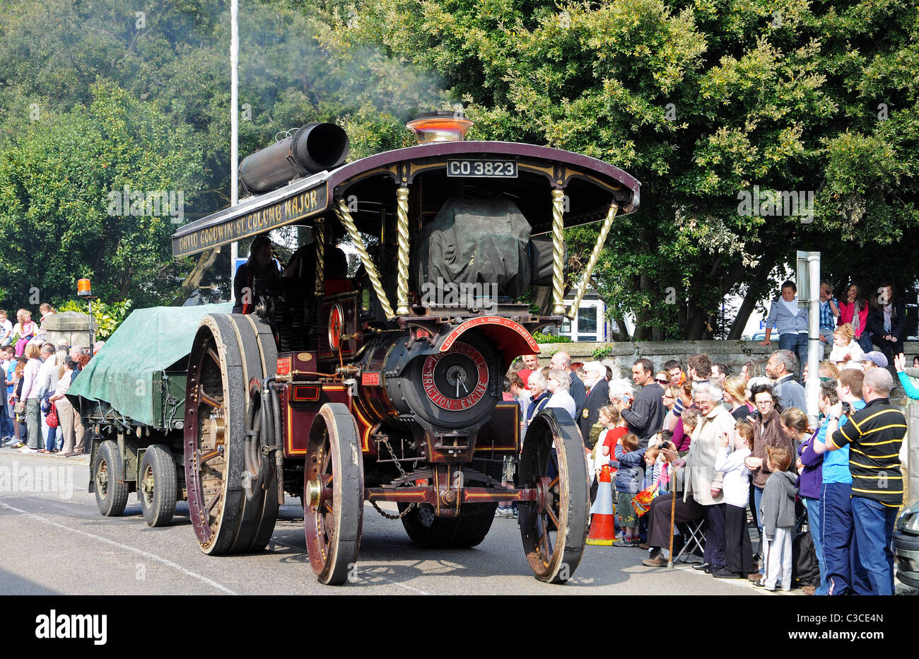 A steam engine in the annual Trevithick day parade, Camborne, Cornwall, UK - Stock Image