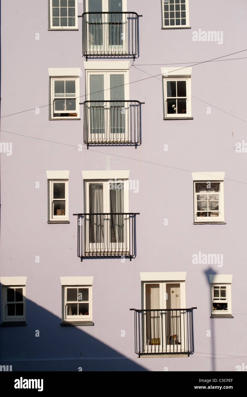 French windows and balconies on a house in Aberaeron Ceredigion Wales UK - Stock Image