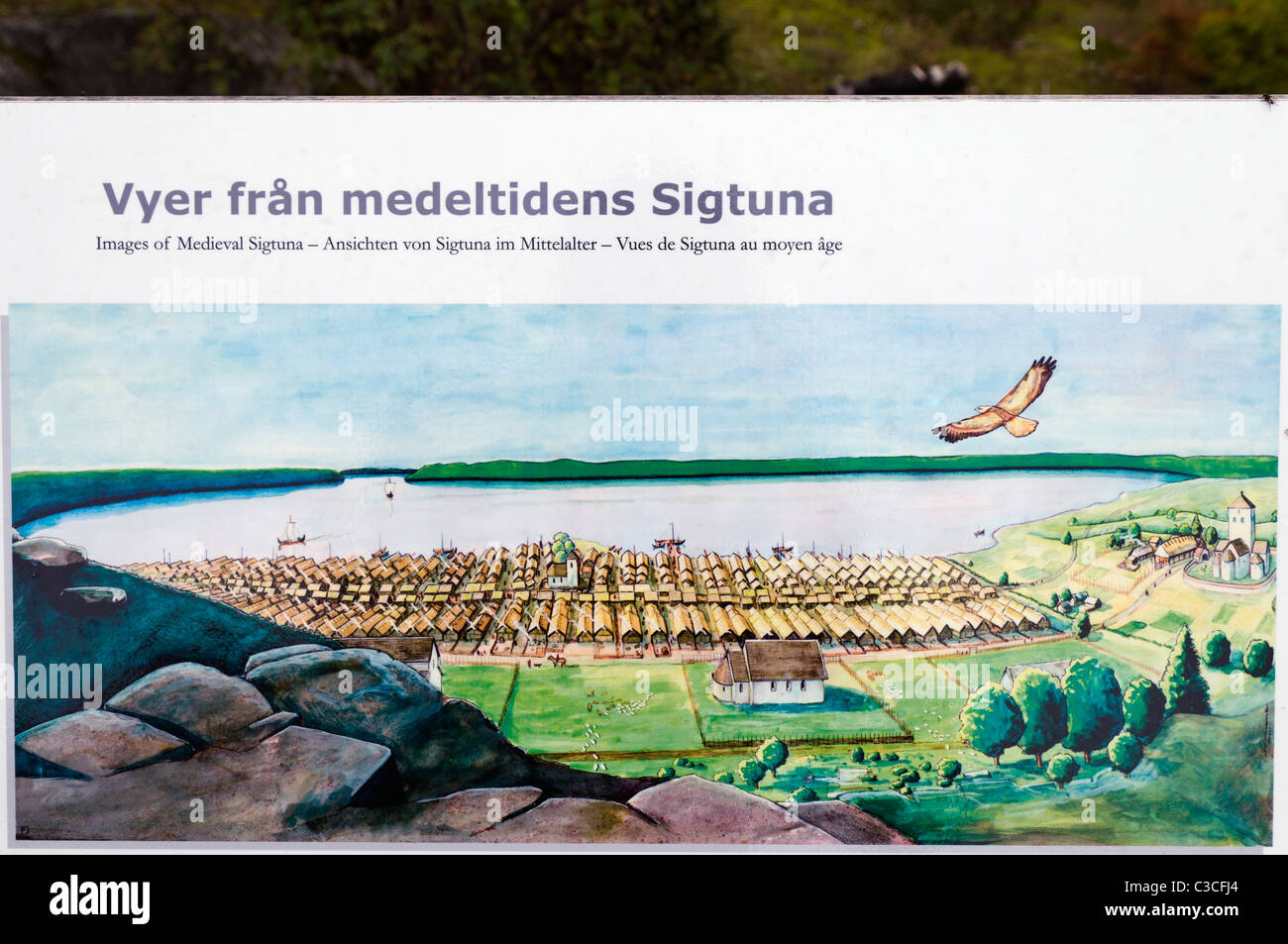 Sign showing what Sigtuna in Sweden used to look like during the Medieval Times. - Stock Image