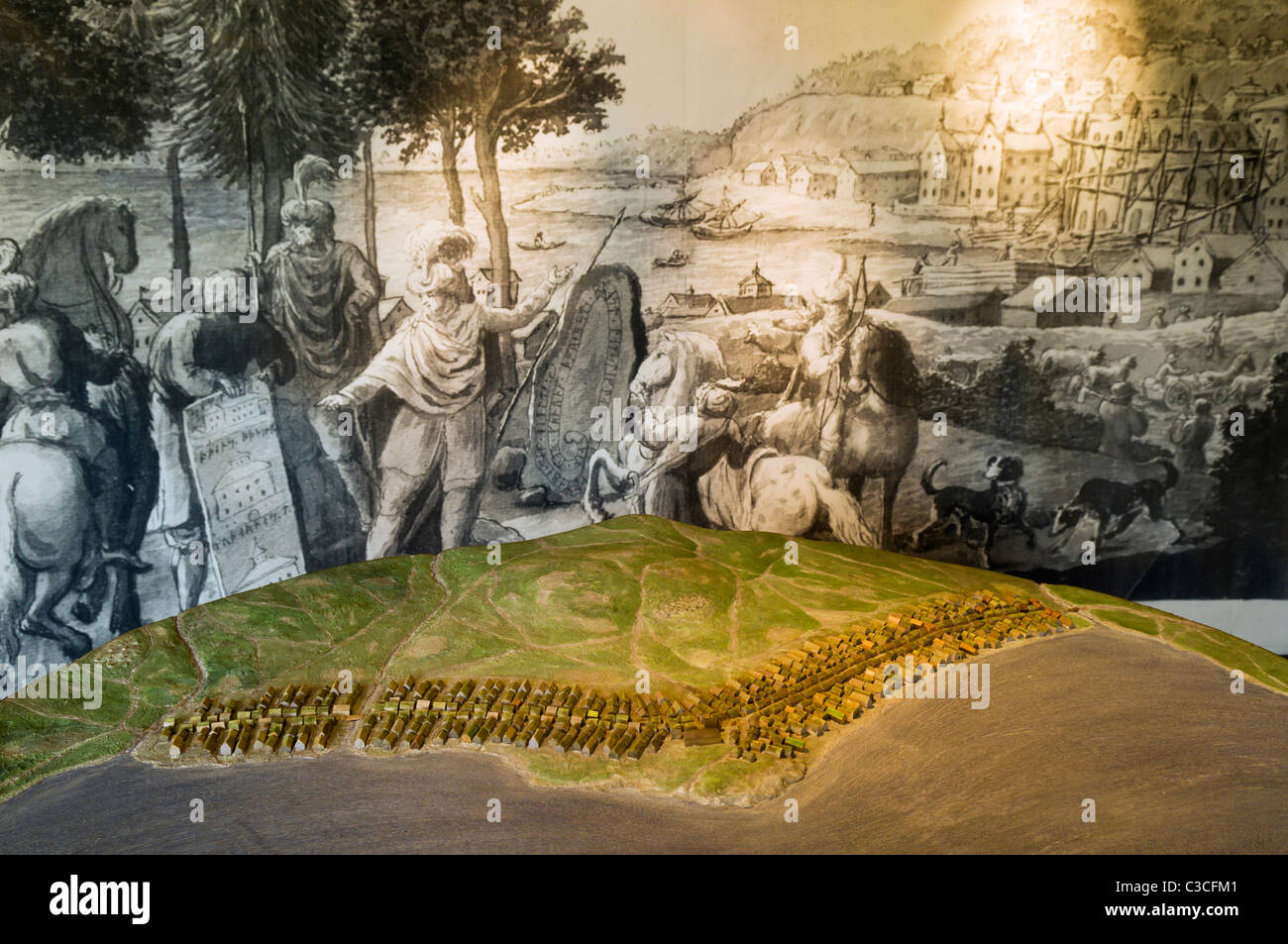 Model at Sigtuna Museum in Sweden showing what Sigtuna used to look like during the Medieval Times. - Stock Image