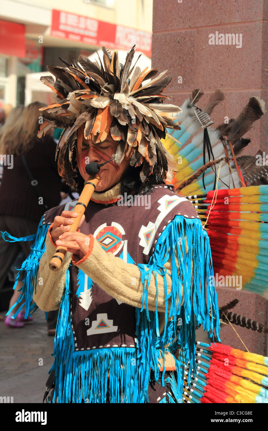 Native Mexican Indian Street Musician Blackpool - Stock Image