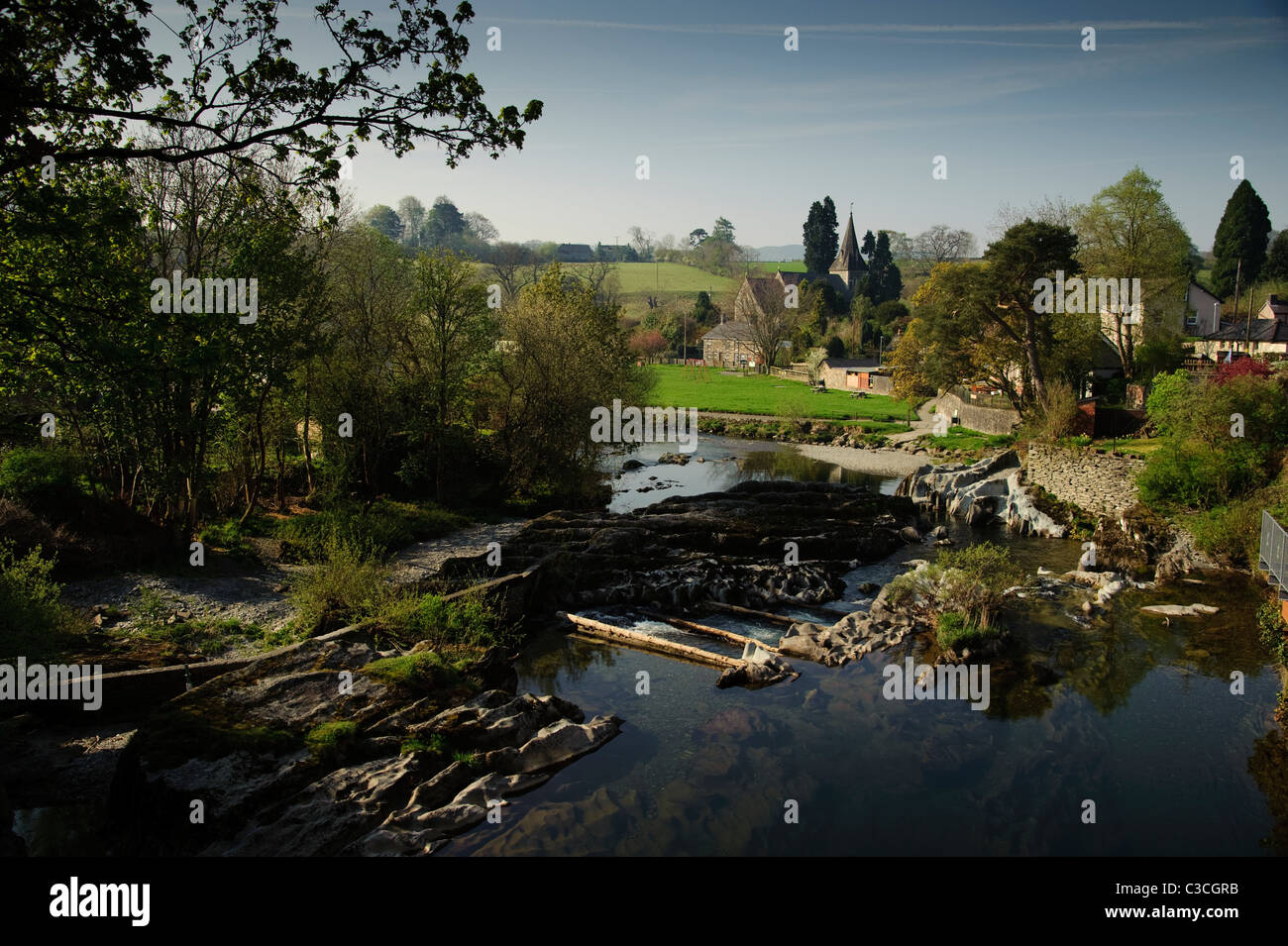 The river Wye flowing through Rhaydaer Powys mid wales uk - Stock Image