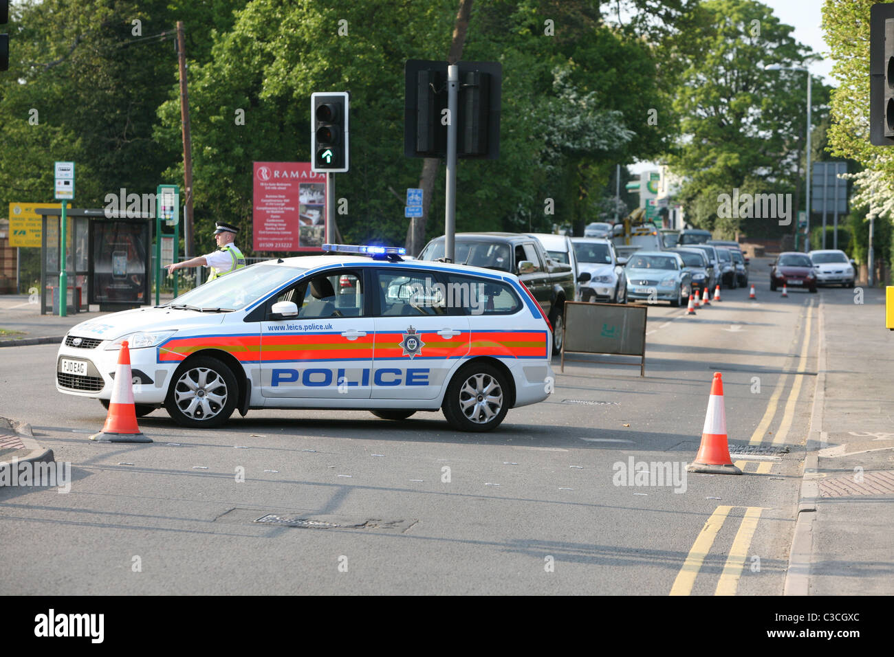 a leicestershire police car at a roadblock - Stock Image