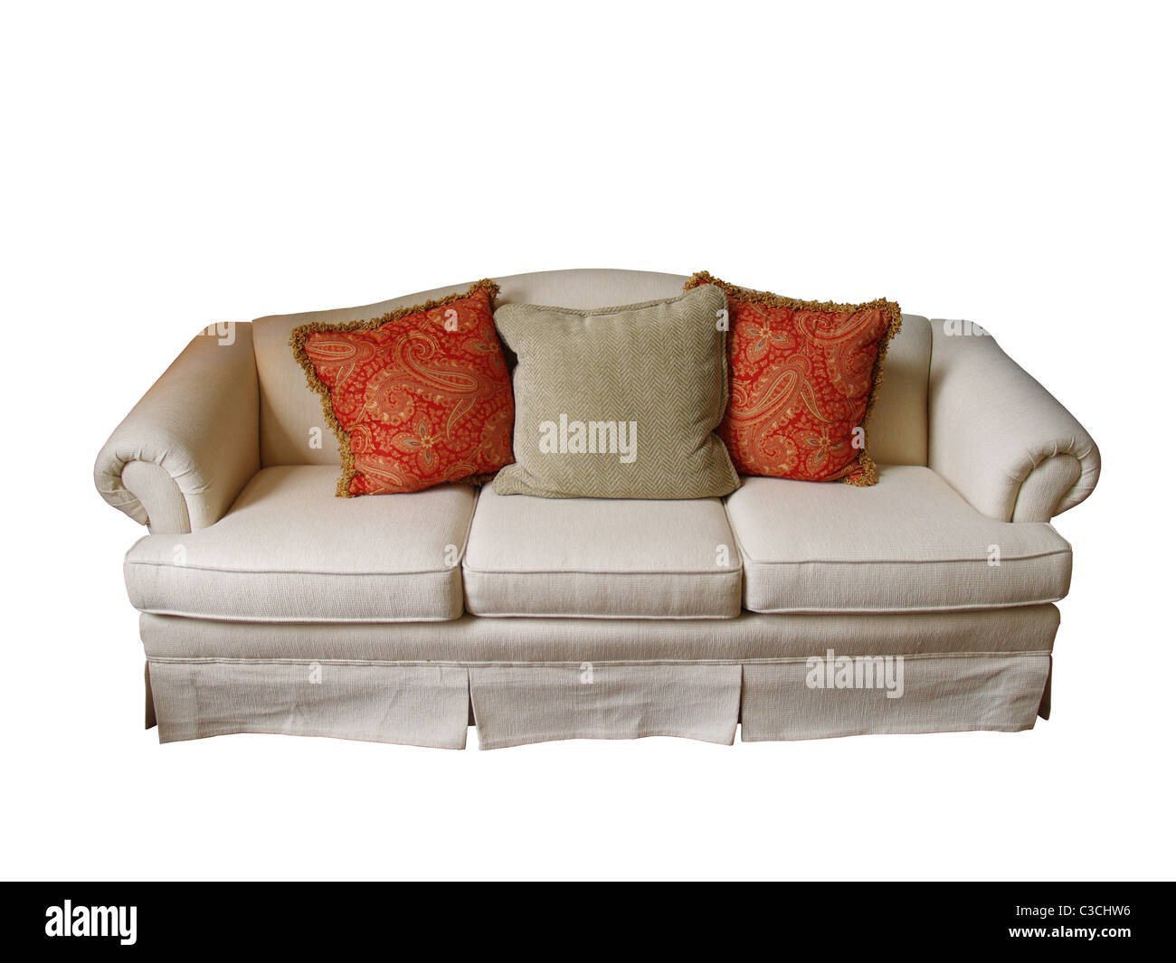 Incredible An Overstuffed Sofa Covered In Off White Fabric With Two Machost Co Dining Chair Design Ideas Machostcouk