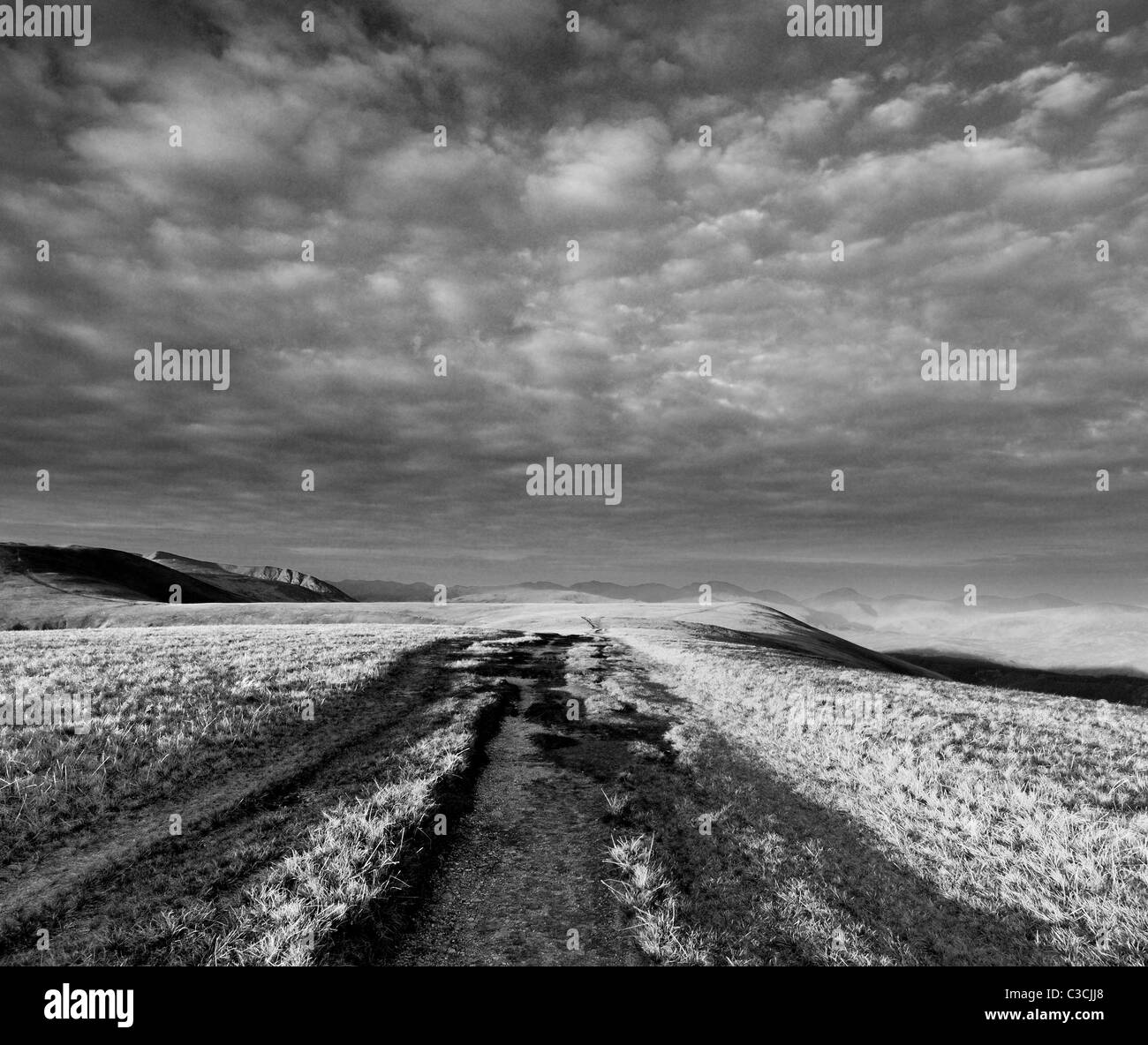 Dramatic black and white skies over footpath on Watsons Dodd in the English Lake District - Stock Image