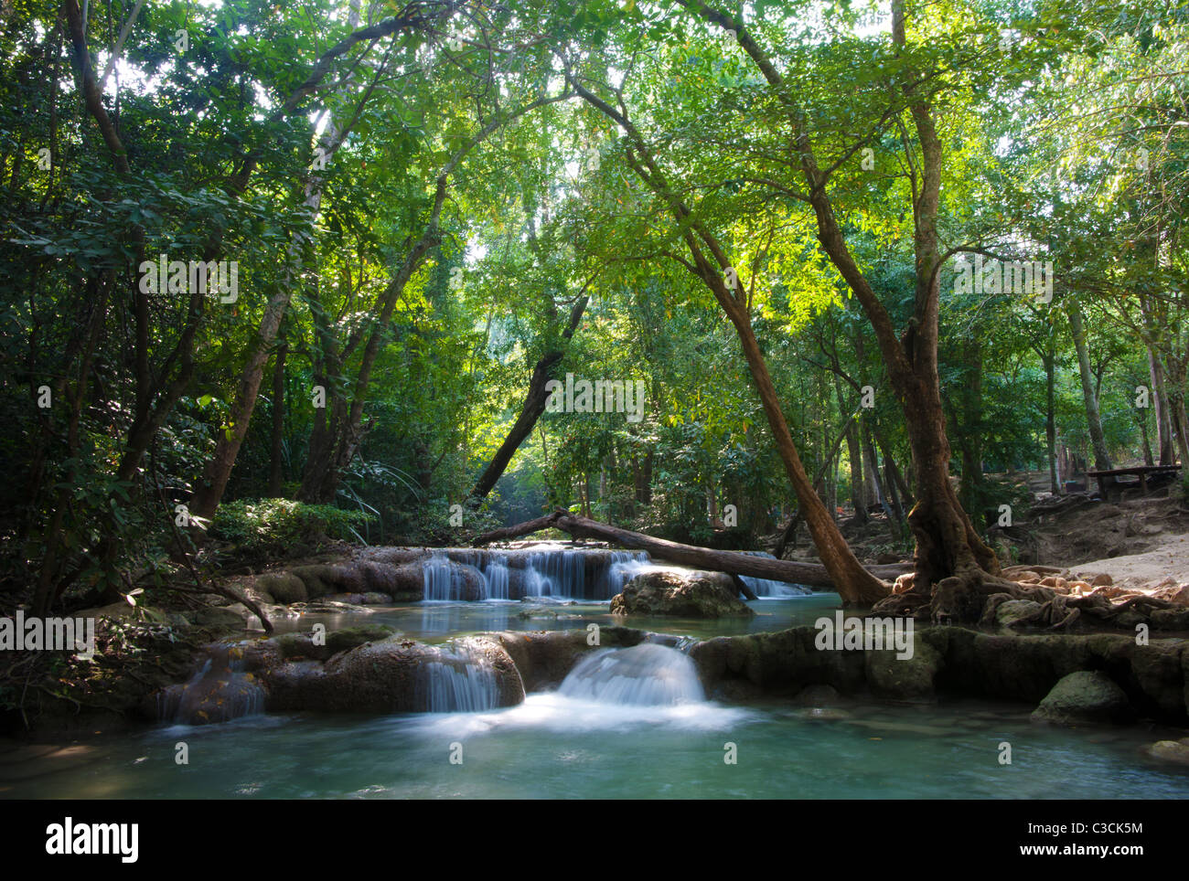 beautiful waterfall cascades in erawan kanachanburi thailand - Stock Image