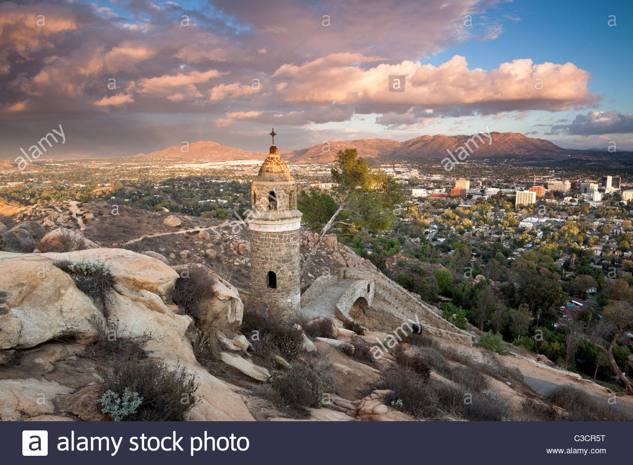 Winter Storm Over Inland Empire from Mount Rubidoux, Riverside, California - Stock Image