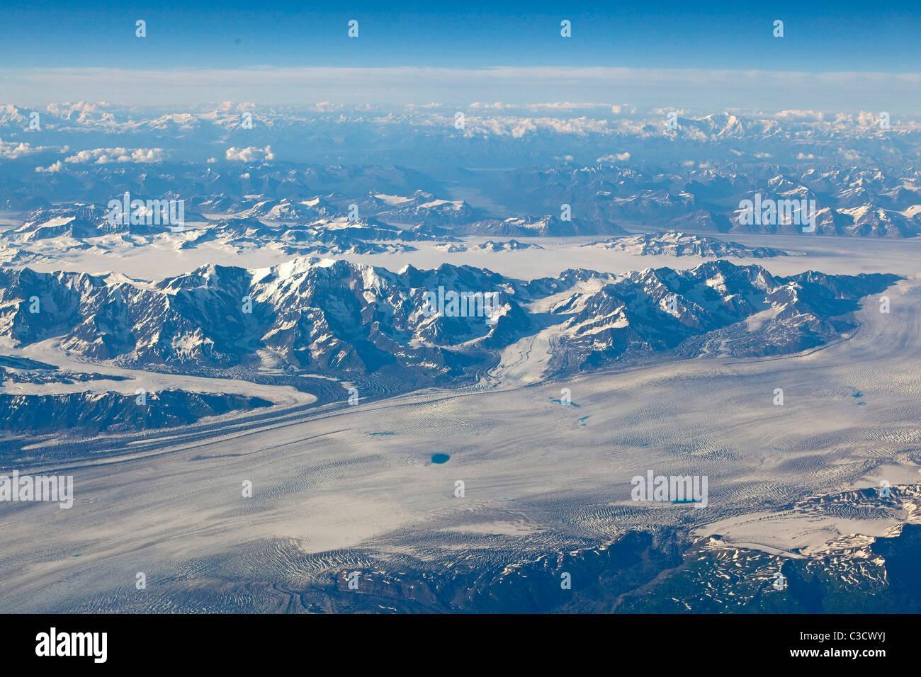 Glacier Bay National Park seen from the air. Alaska, USA. - Stock Image