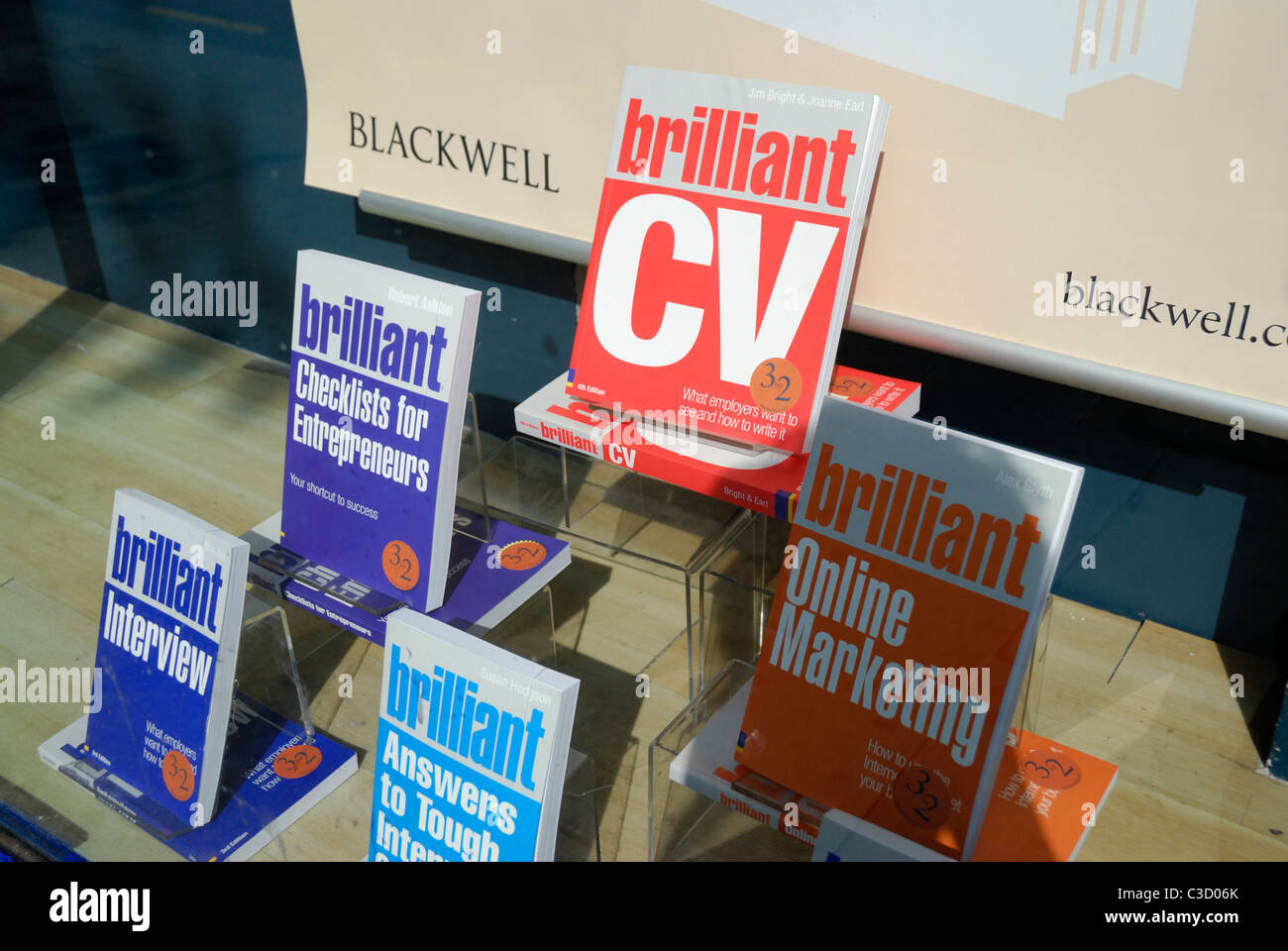 Career related books in a shop window - Stock Image