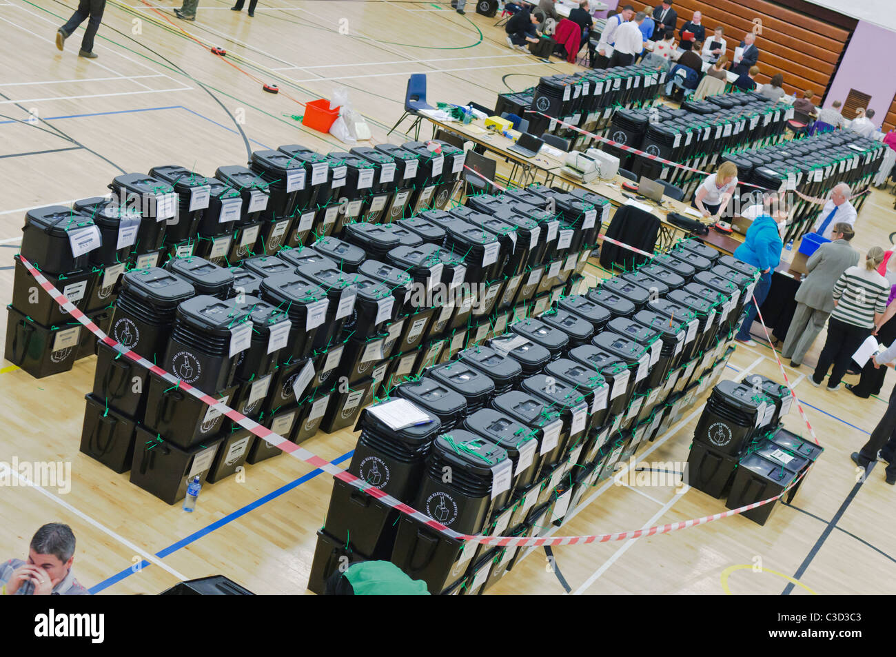 Ballot boxes at the Valley Leisure Centre for the NI Assembly & local council elections, and AV referendum - Stock Image