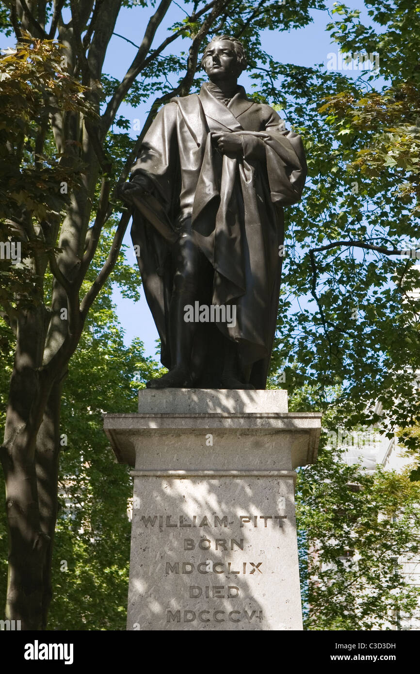 England London, William Pitt the Younger, statue in Hanover square - Stock Image
