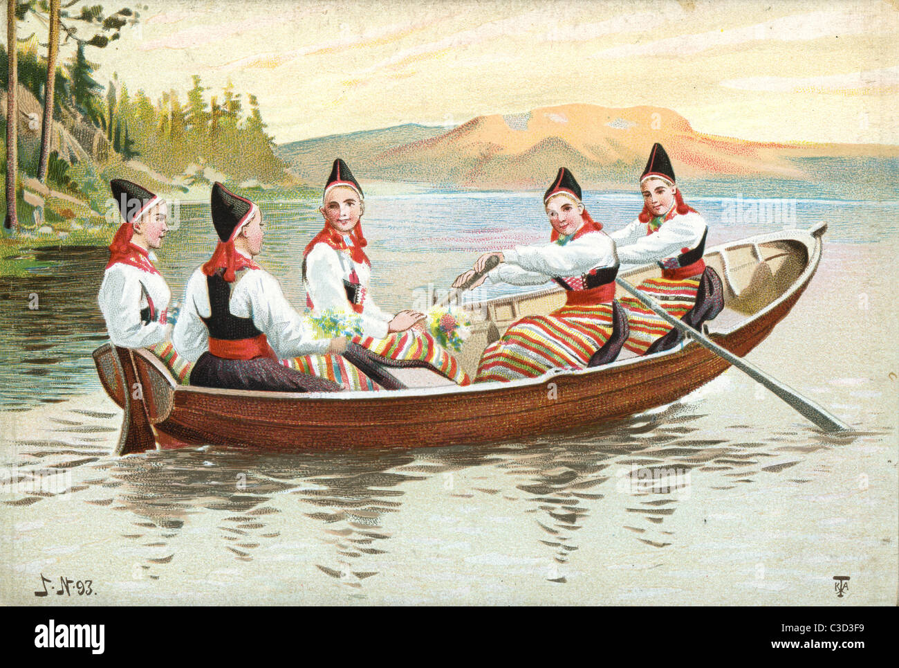 ROWING BOATS PROMENADE ANTIQUE DISPLAYABLE COLOR PRINT VINTAGE BOAT ROWING
