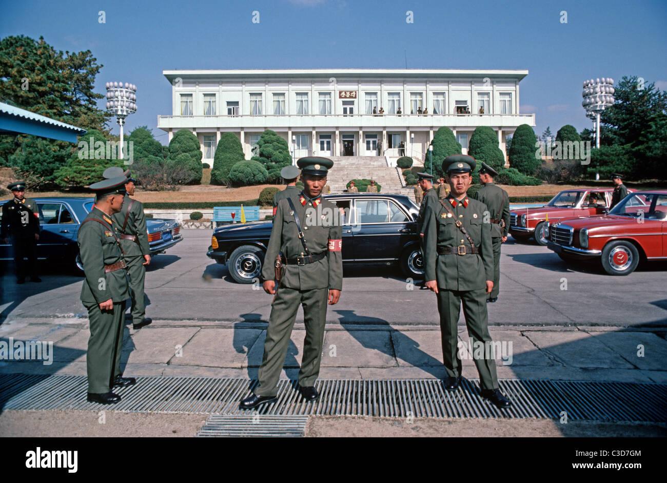 North Korean Guards, KPA, Korean People's Army, DMZ Line at Panmunjon between North and South Korea - Stock Image