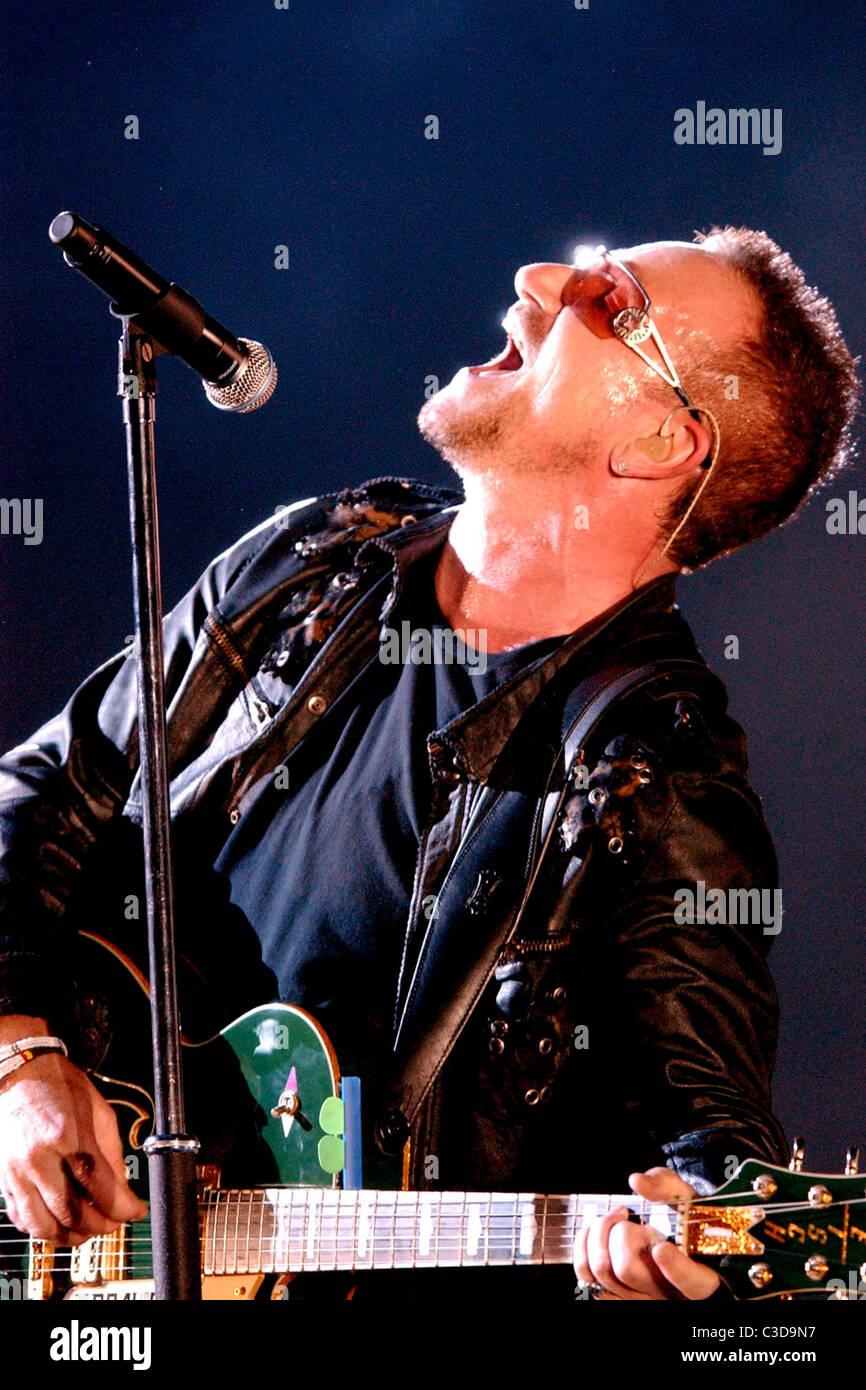 Bono U2 performing live in concert at Amsterdam ArenA