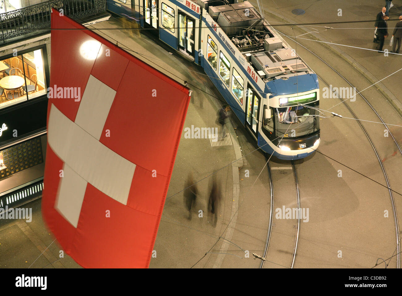 A tramway in the Bahnhofstrasse, Zurich, Switzerland - Stock Image