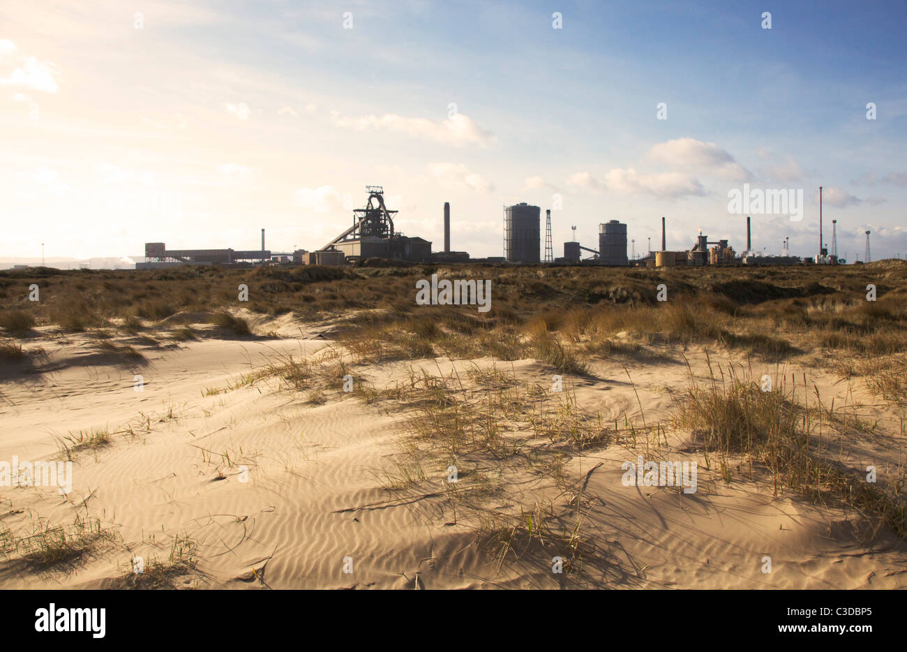 Redcar, steelworks and sand dunes - Stock Image