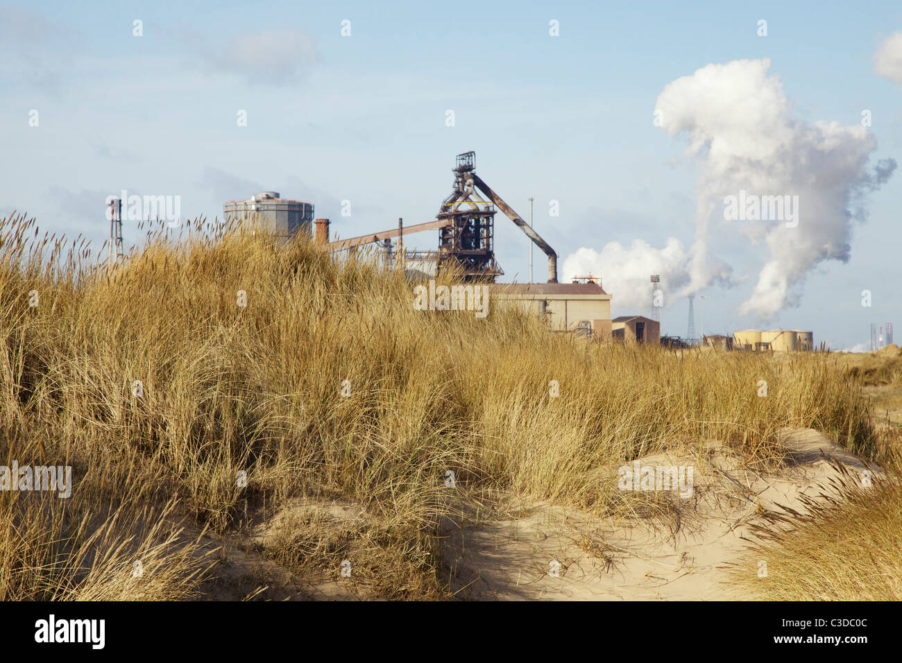 Redcar steelworks and sand dunes - Stock Image