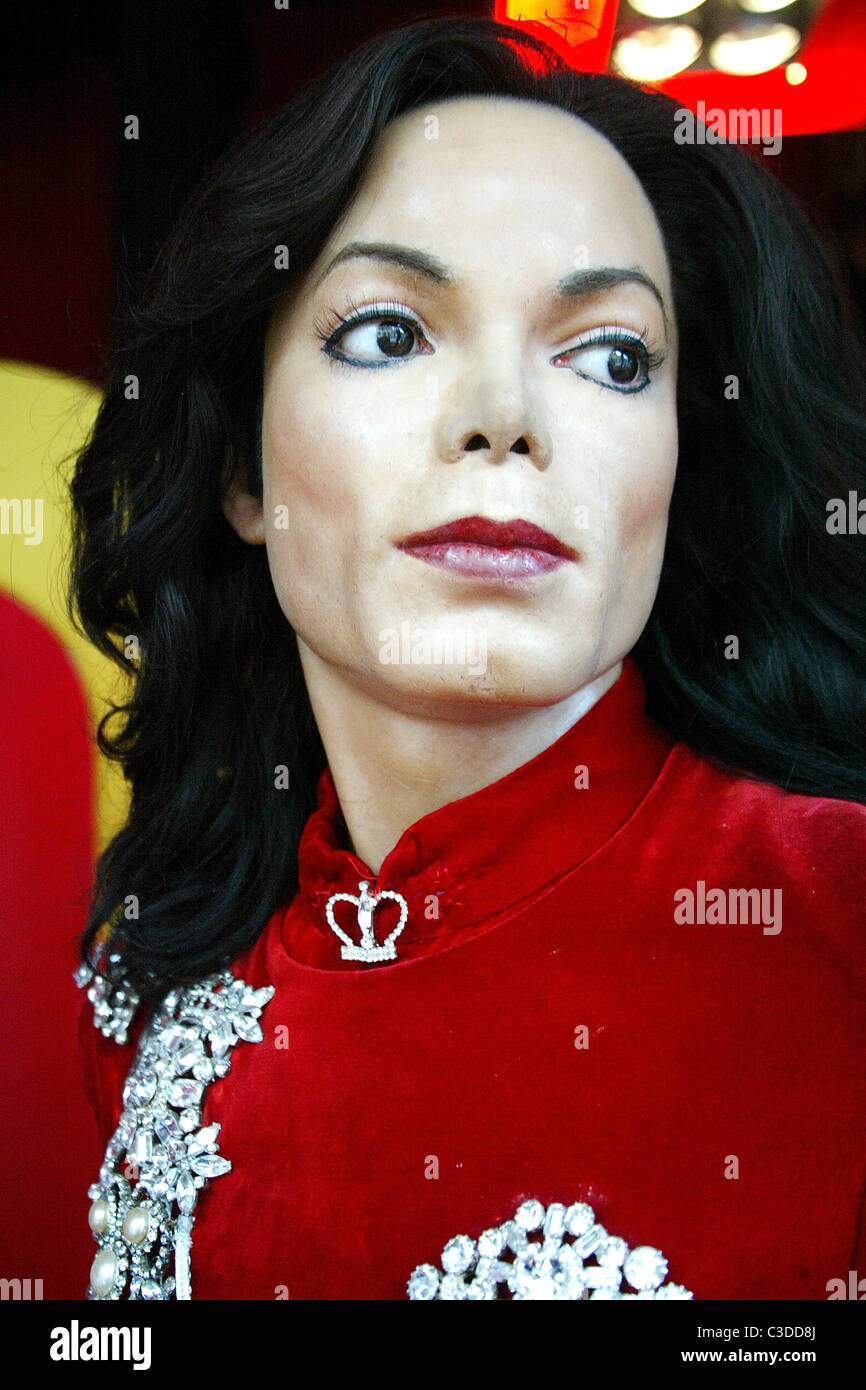 A wax figure of late pop singer Michael Jackson is unveiled at Madame Tussauds in Washington DC. The wax likeness - Stock Image