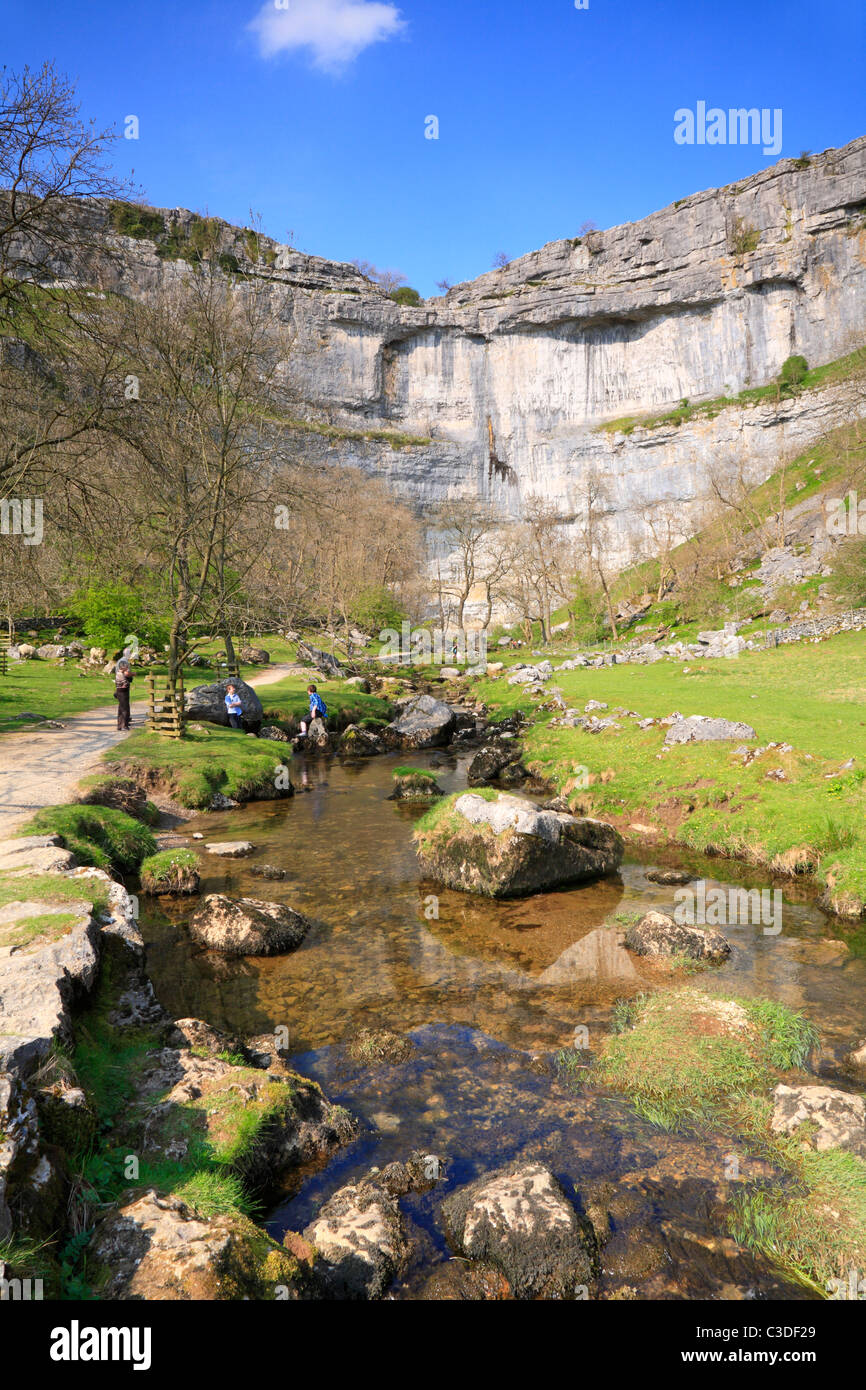 The Pennine Way alongside Malham Beck at Malham Cove, Malham, North Yorkshire, Yorkshire Dales National Park, England, - Stock Image