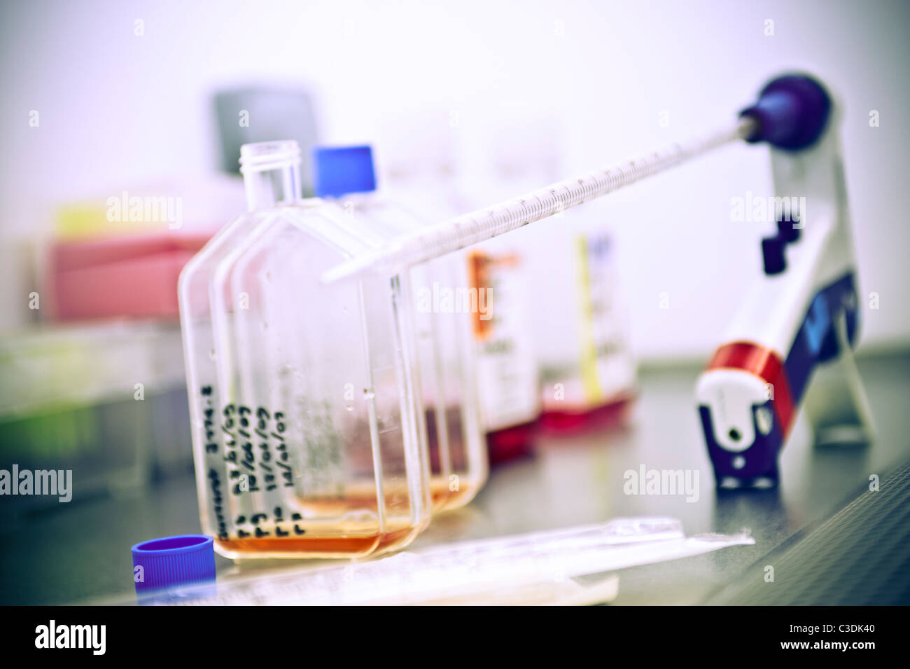 close up of scientific flasks with red and orange liquid in fume cupboard in science lab - Stock Image